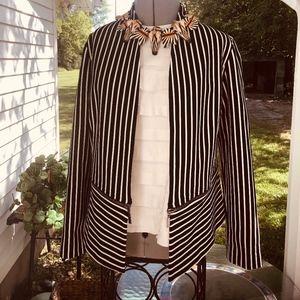 CHICO'S B&W striped Zipper Jacket, Size O